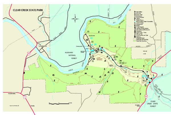 Clear Creek State Park map