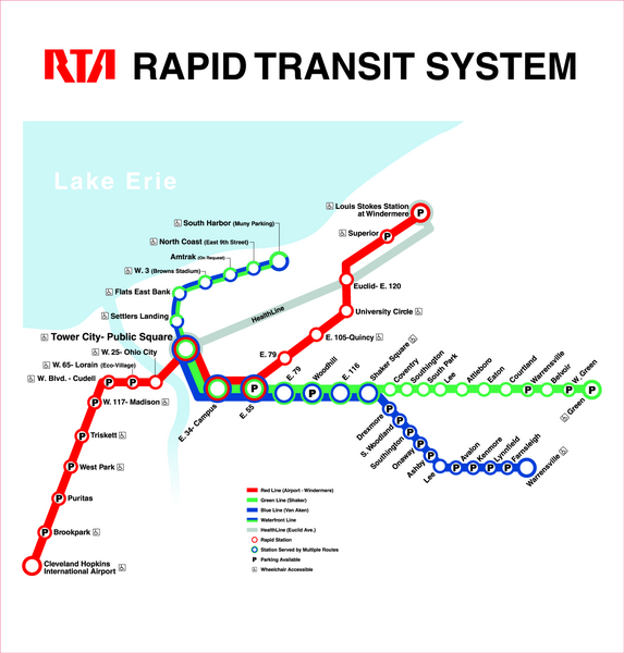 Cleveland Rapid Transit Map Cleveland Ohio USA Mappery - Cleveland ohio usa map