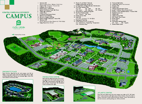 Coastal Carolina Campus Map Coastal Carolina University campus map   Conway SC 29528 • mappery