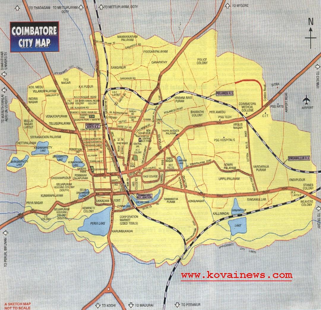 Coimbatore City Map Coimbatore India mappery