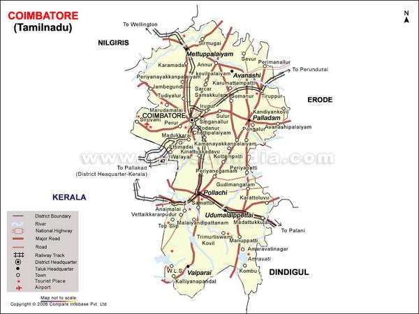 Coimbatore Tourist Map Coimbatore mappery