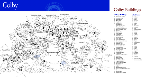 Colby College Campus Map   4000 Mayflower Hill Waterville ME • mappery