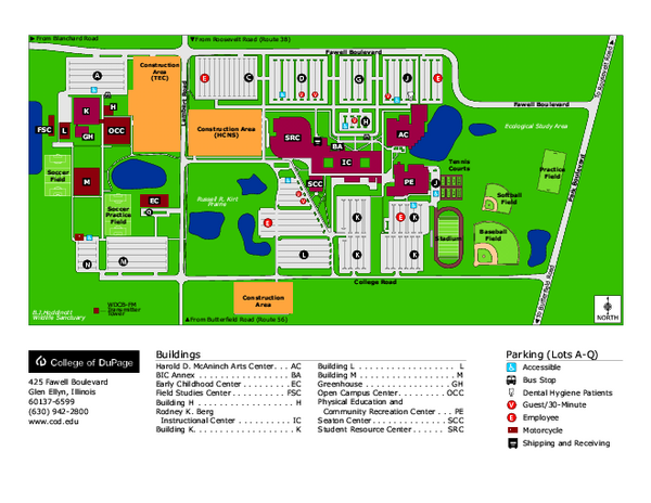 College of Dupage Campus Map   425 Fawell Blvd Glen Ellyn IL 60137