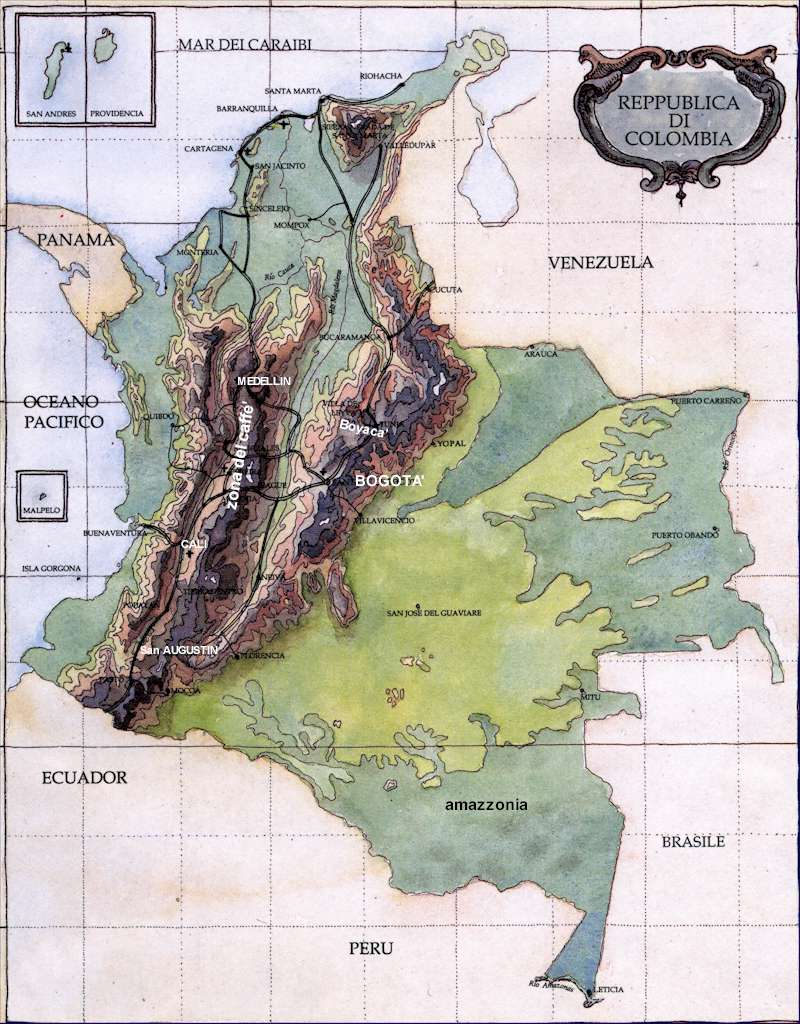 Colombia Terrain Map