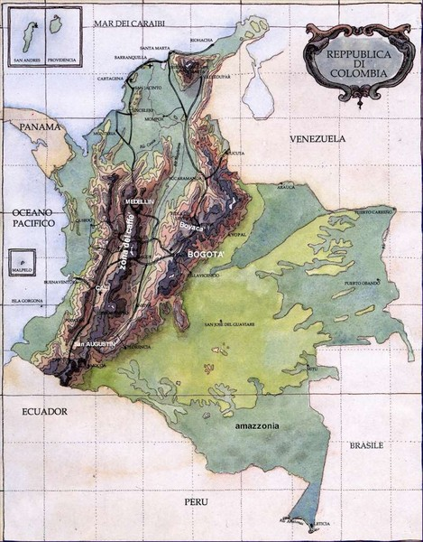 Colombia Terrain Map Colombia Mappery - Colombia map