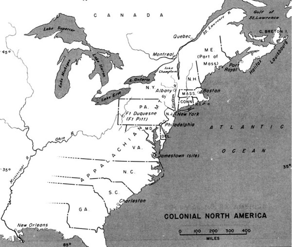 Colonial North America 16891783 Historical Map North America