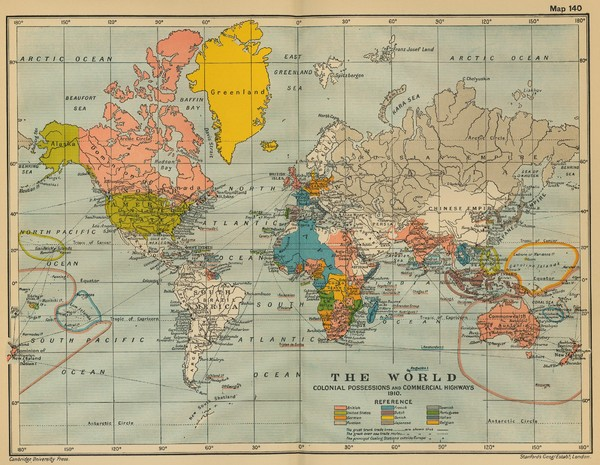 Colonial Posessions and Commercial Highways 1910 World Map