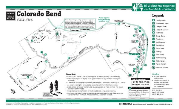 Colorado Bend Texas State Park Facility Map   Colorado Bend Texas