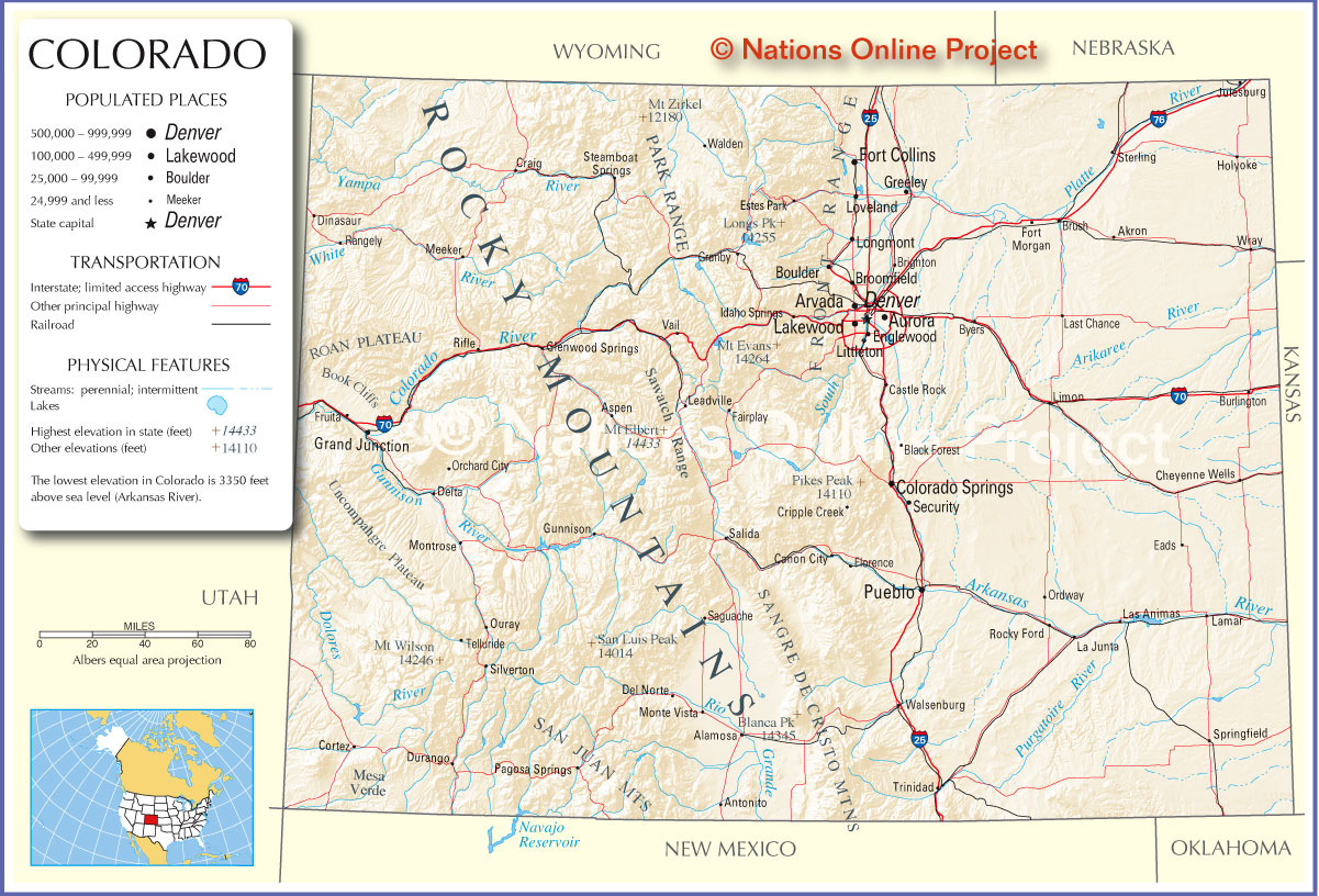 Colorado Cities Map Colorado US Mappery - State of colorado map