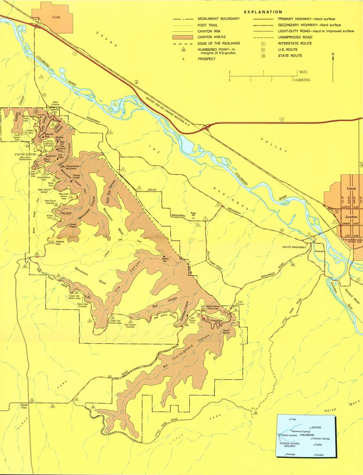 Colorado National Monument Map - Grand Juction Colorado USA ...