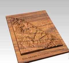 Colorado National Monument carved by CarvedMaps.com Map