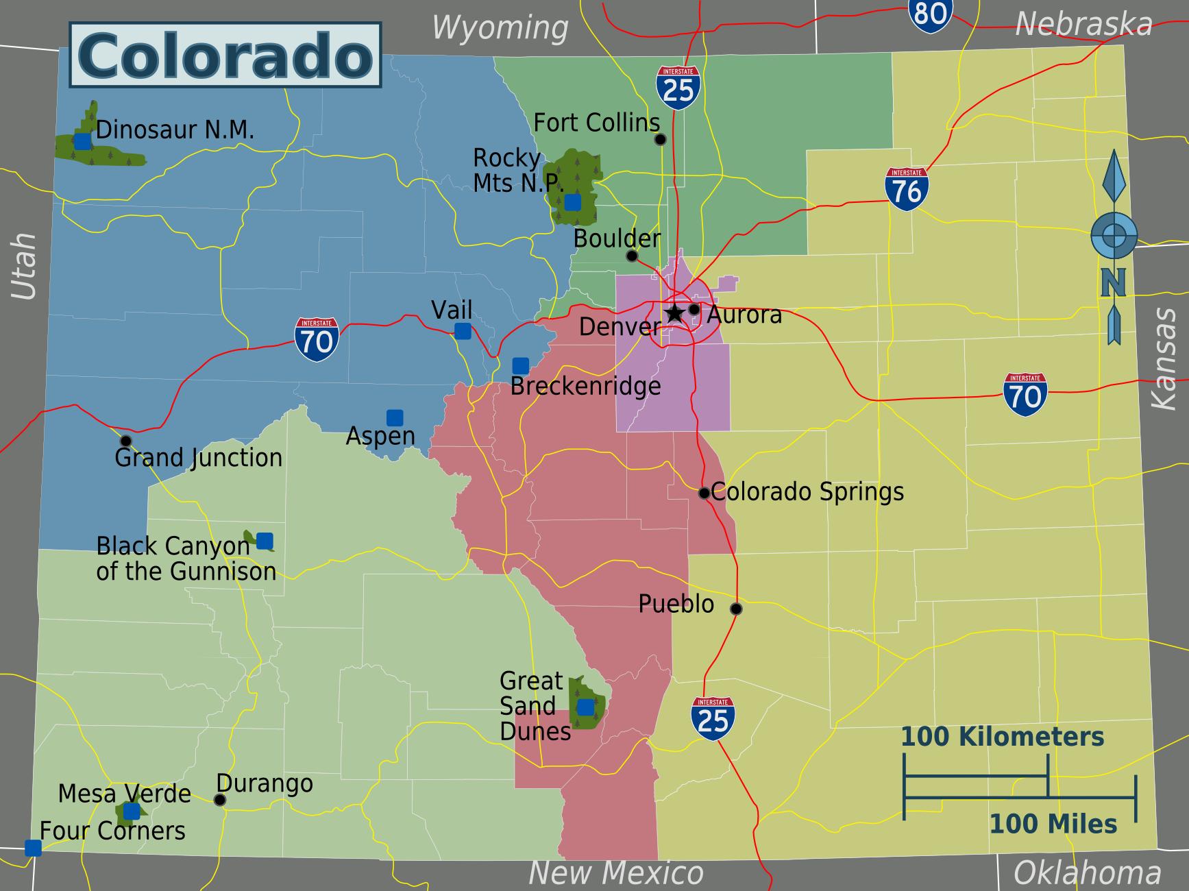 Colorado Region Map - Colorado US • mappery