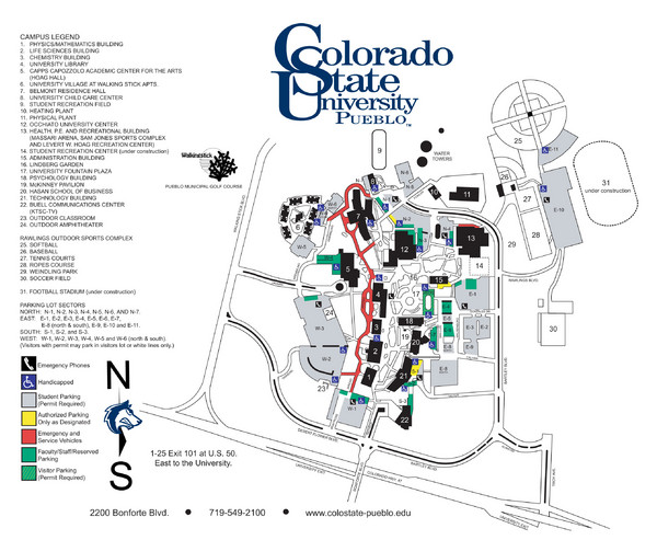 Colorado State University - Pueblo Campus Map - 2200 Bonforte Blvd ...