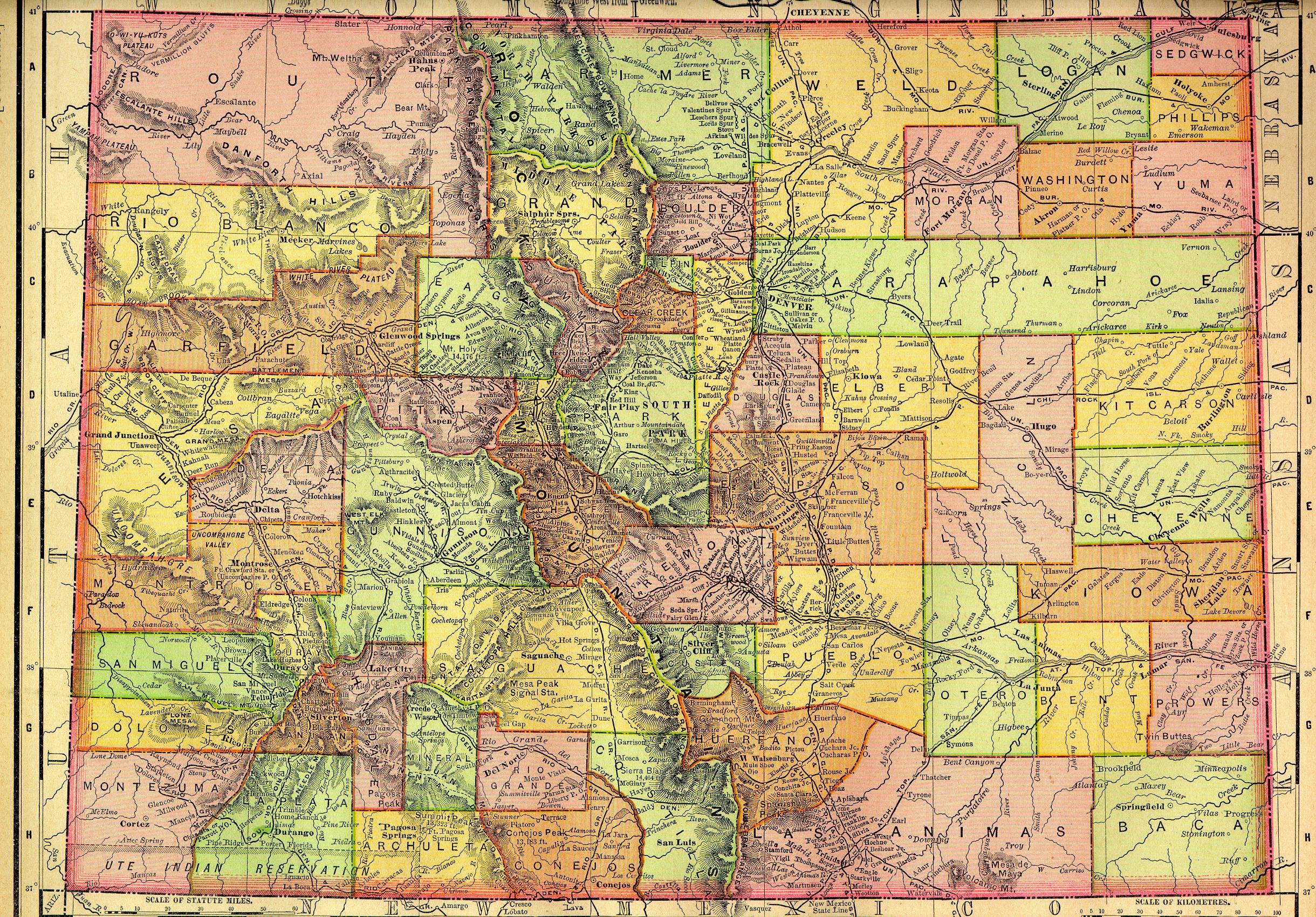 Colorado State Map 1895 - Colorado U2022 Mappery
