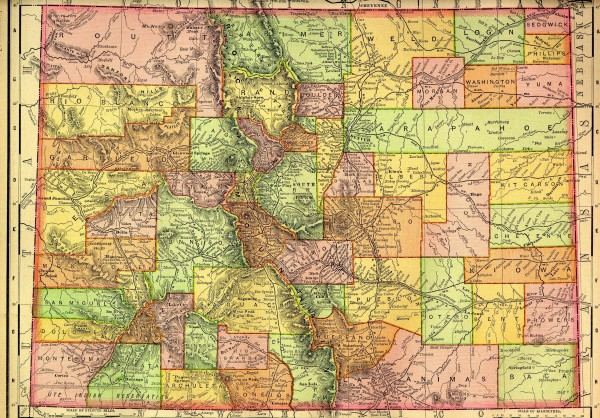 Colorado State map 1895