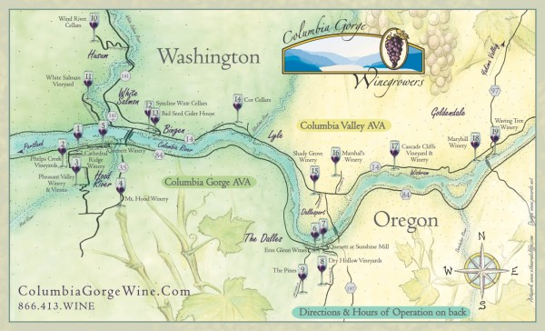 Columbia Gorge Wine Map Lyle Washington Mappery