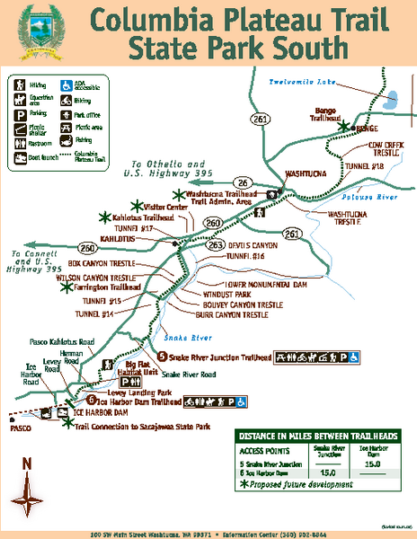 Columbia Plateau Trail State Park South Map