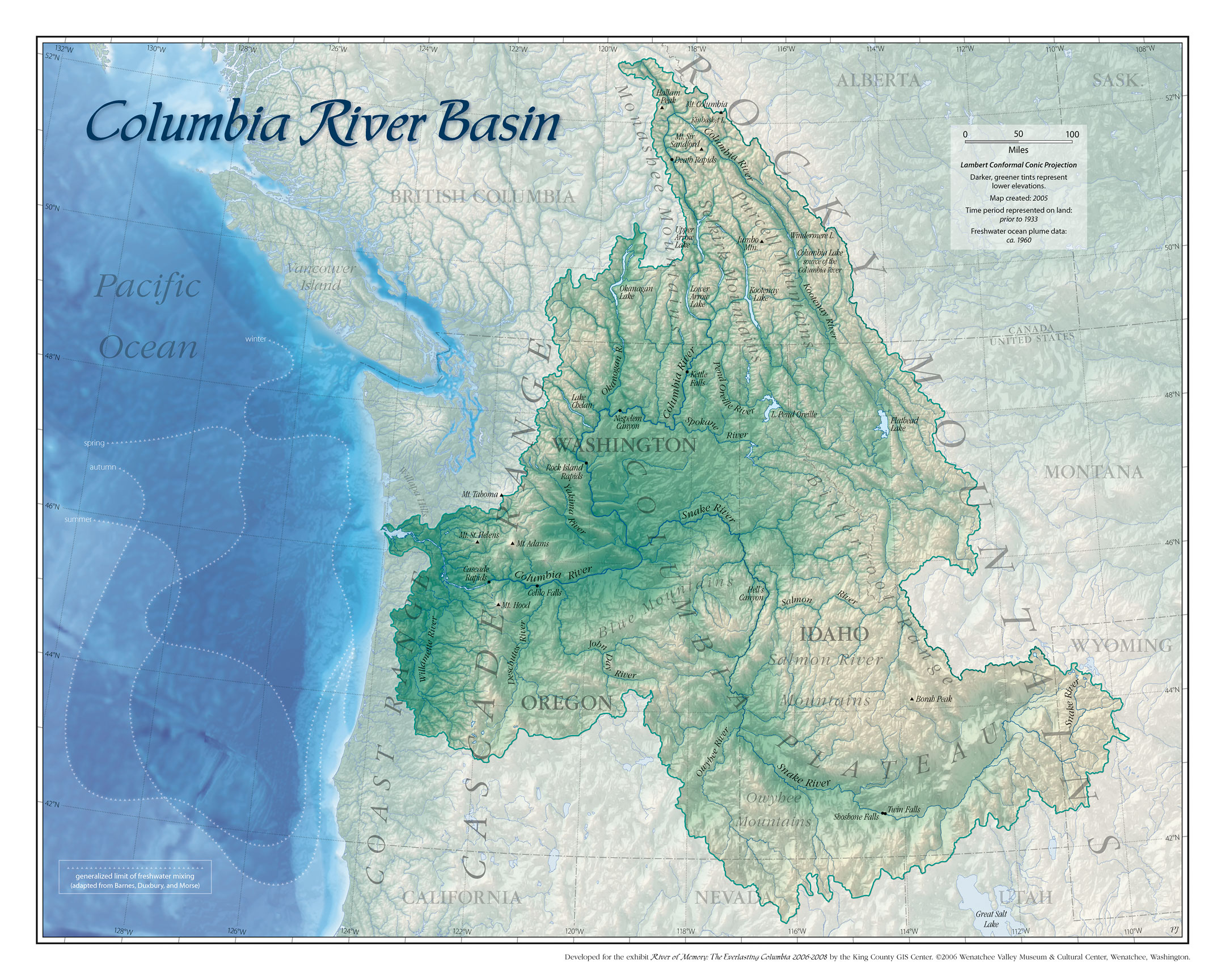 Columbia River Basin Map Columbia River USA Mappery - Columbia in usa map
