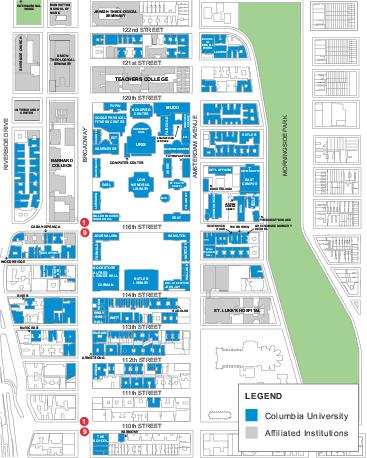 Columbia University Map  Columbia University New York
