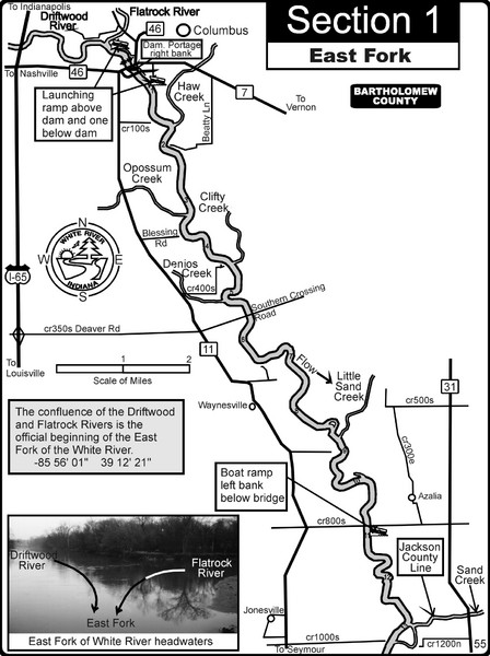 Columbus, IN White River East Fork Map