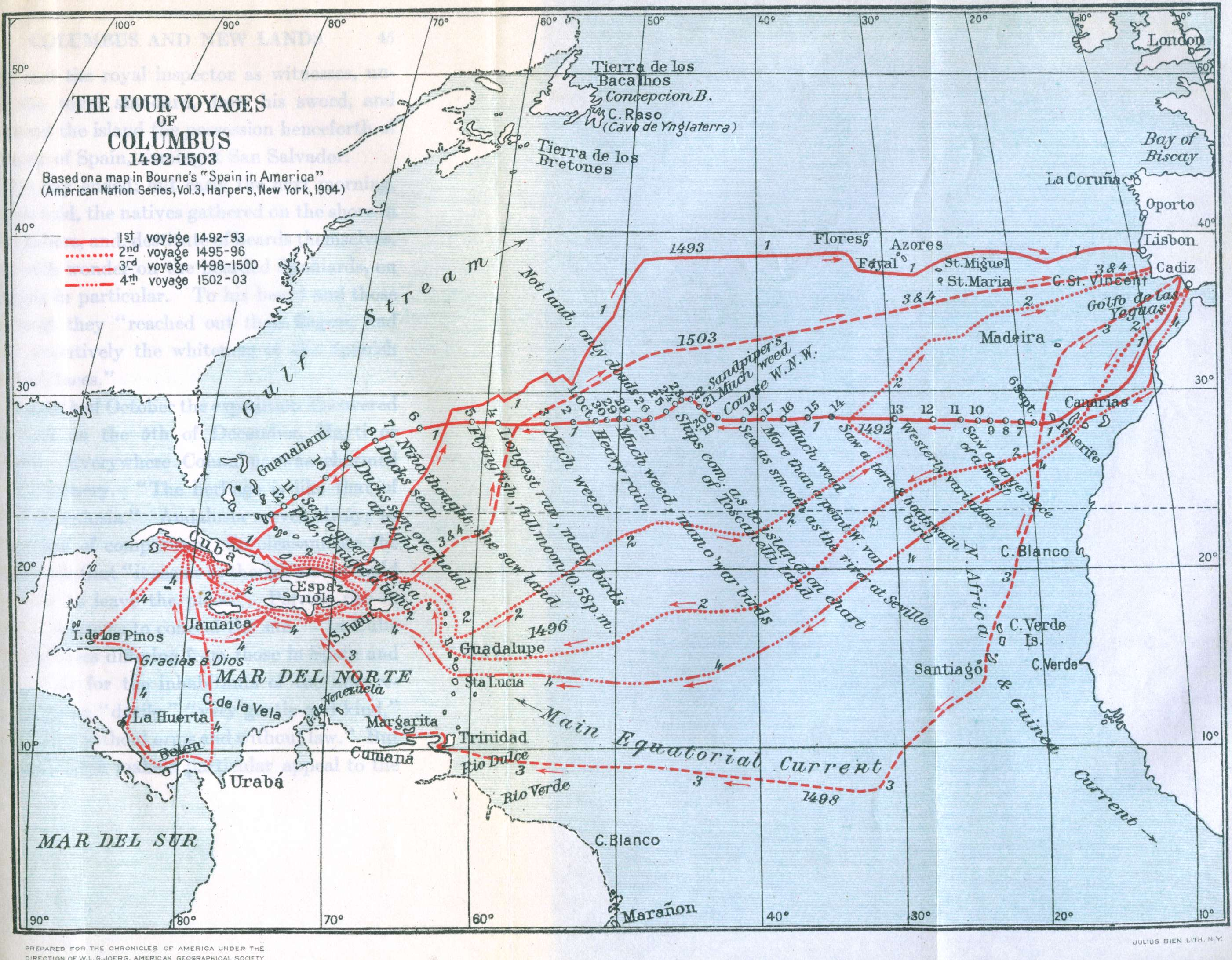 Columbus Voyages Map  Mappery