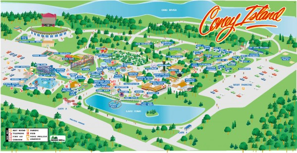 Coney Island Amusement Park Map