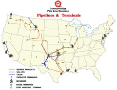 ConocoPhillips Pipelines & Terminals Map