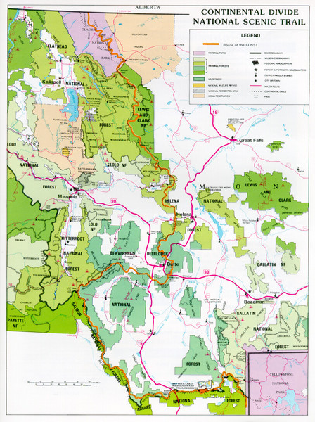 Continental Divide Scenic Trail Map Montana US Mappery - Montana us map