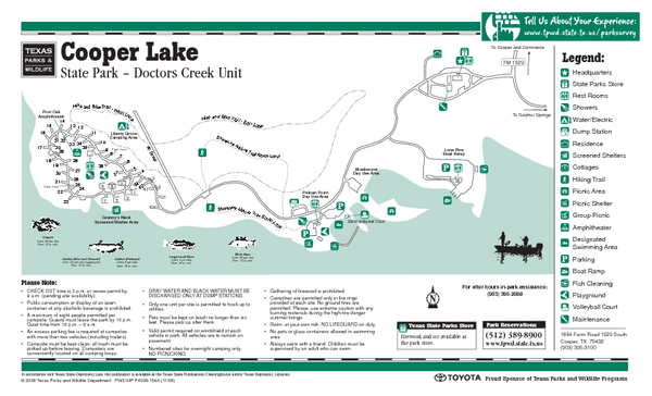 "Cooper Lake (Doctors Creek Unit"", Texas State Park Facility and Trail Map"