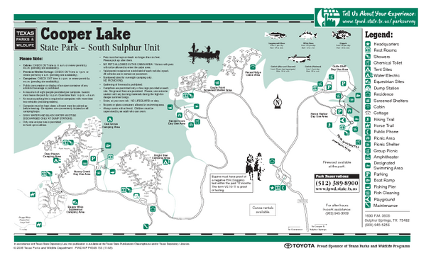 "Cooper Lake ""South Sulphur Unit"", Texas State Park Facility and Trail Map"