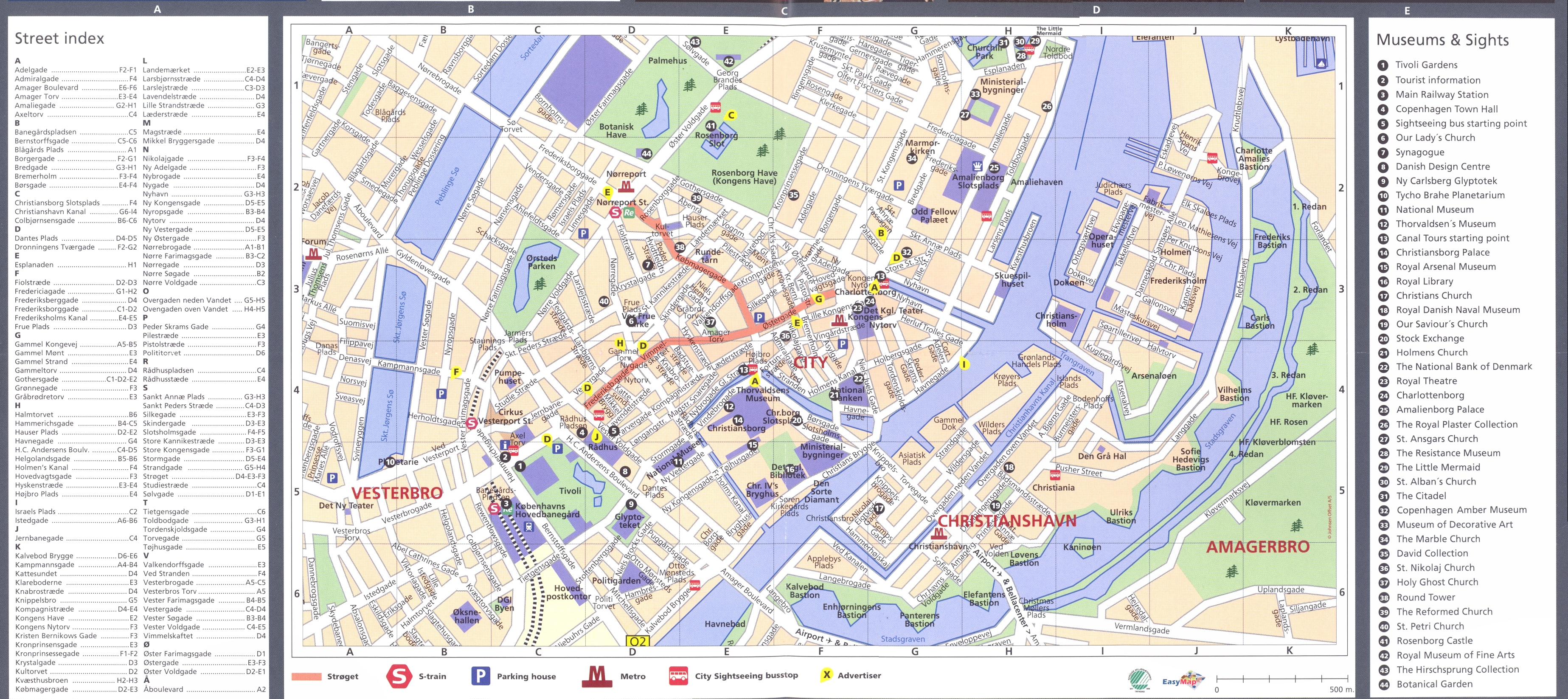 Copenhagen Downtown With Index Map