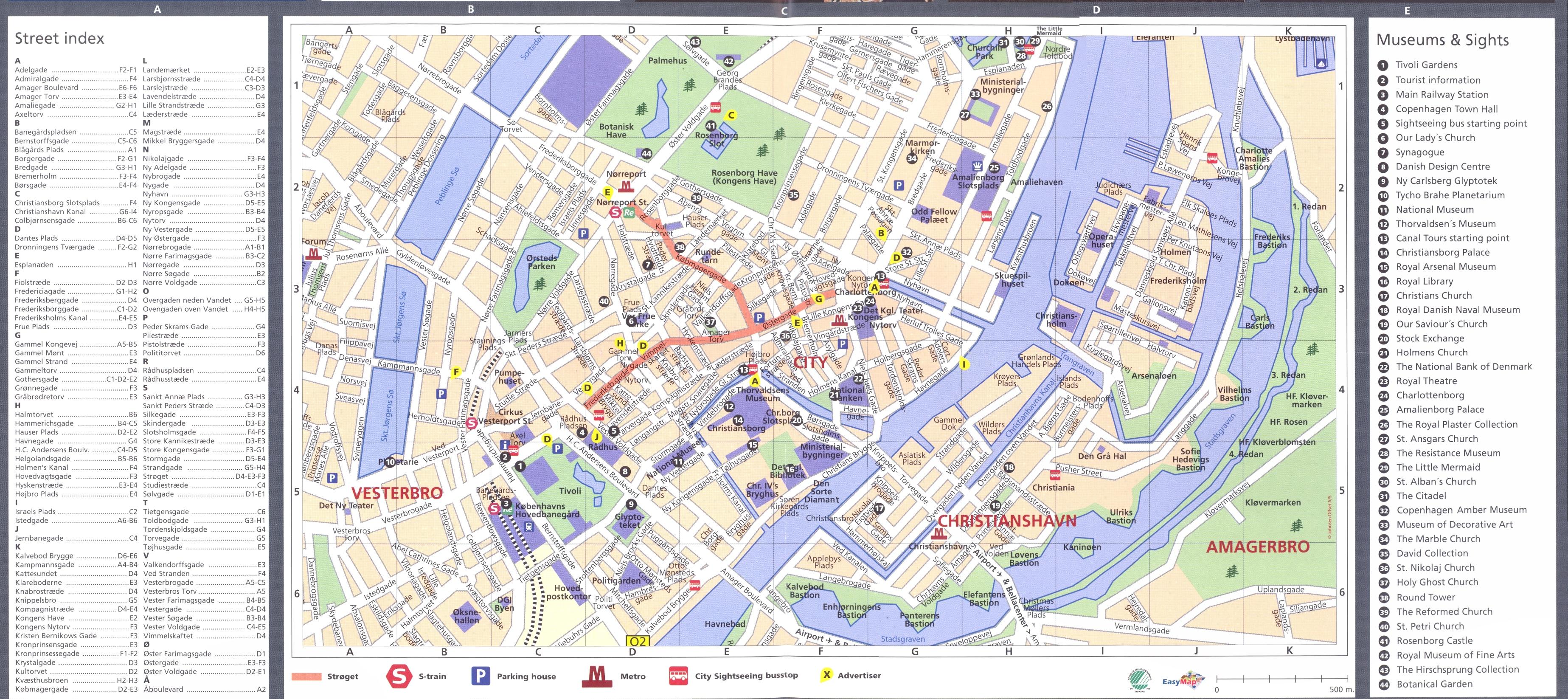 Copenhagen downtown with index Map copenhagen dk mappery