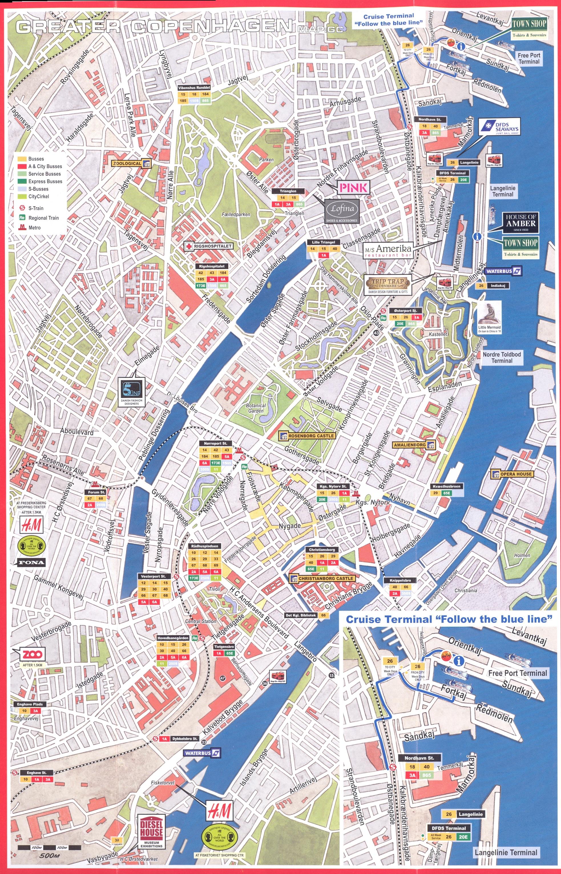 Copenhagen Major Bus Stops Map