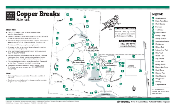 Copper Breaks, Texas State Park Facility and Trail Map