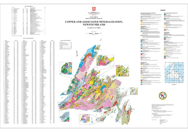 Copper and Associated Mineralization in Newfoundland Map