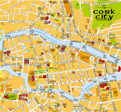 Cork, Ireland Tourist Map