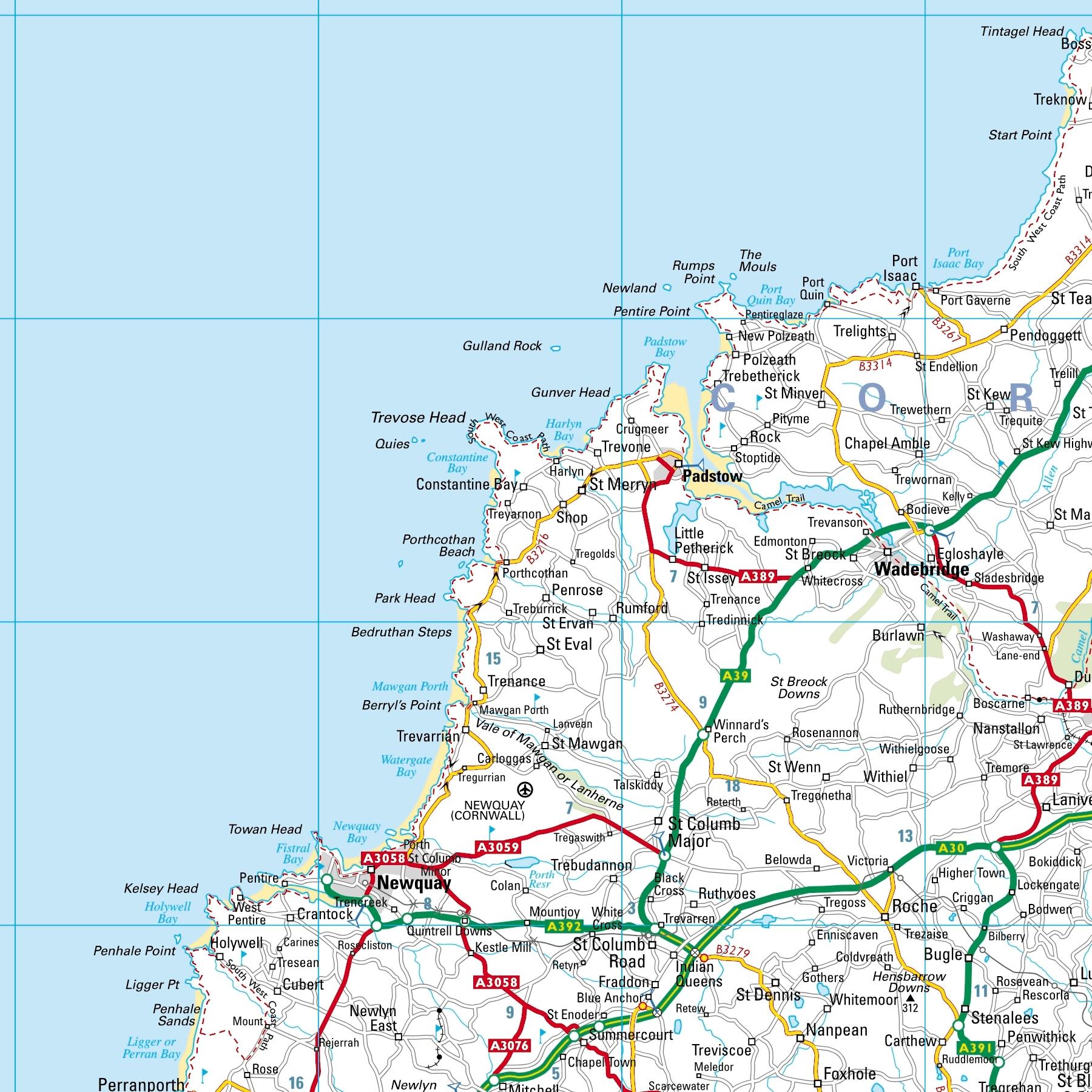 Cornwall Coast Map