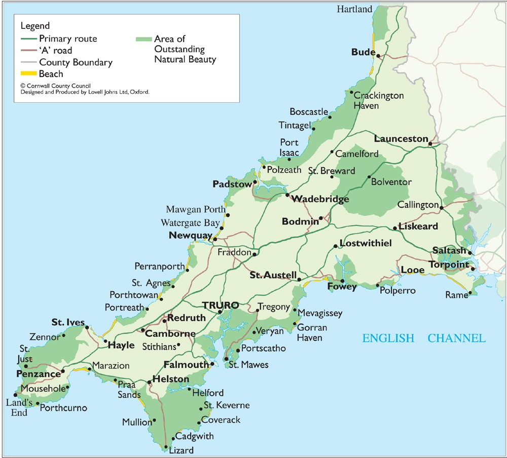 Cornwall England Map