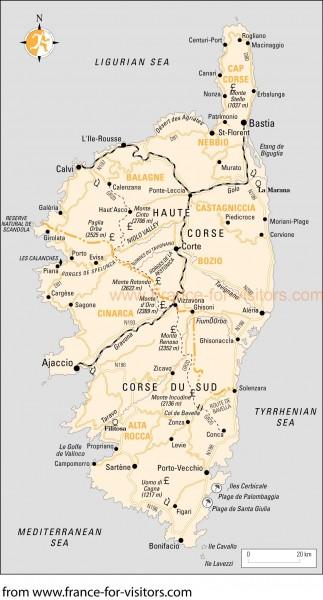 Corsica Map Corsica France Mappery