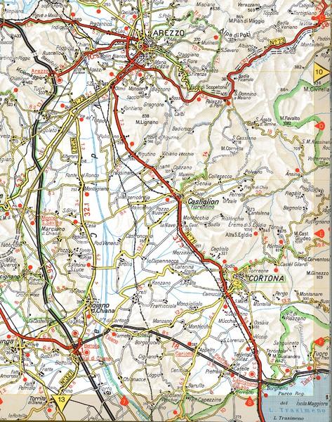 Cortona Road Map - Cortona Italy • mappery