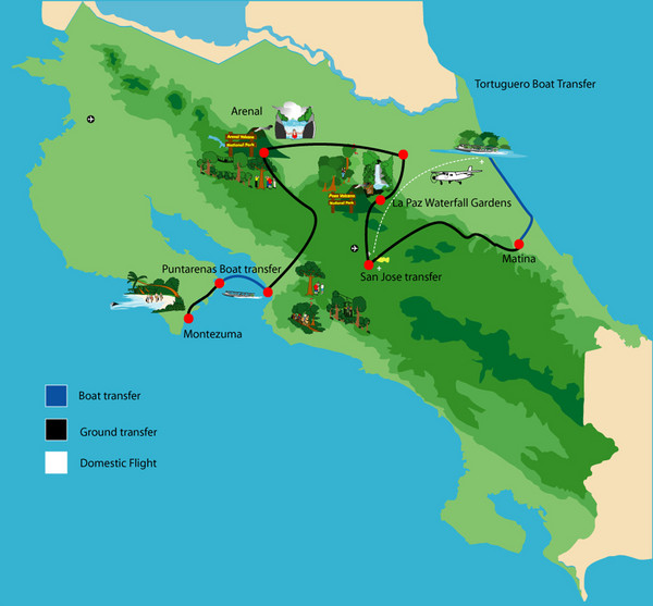 Costa Rica Tour Bus Map