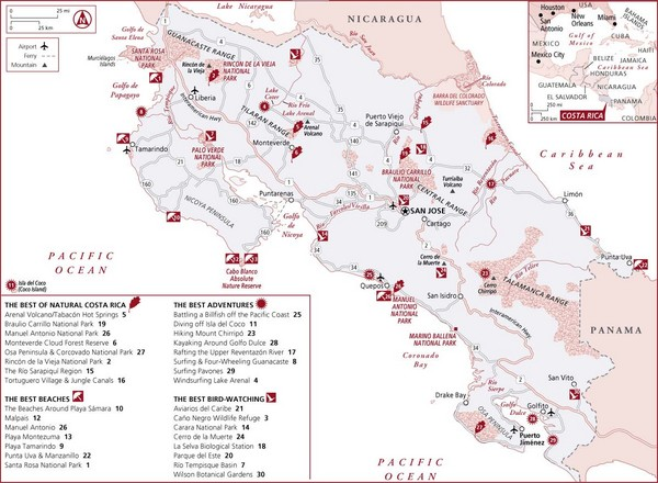 Costa Rica Tourist Map MAP - County map of costa rica