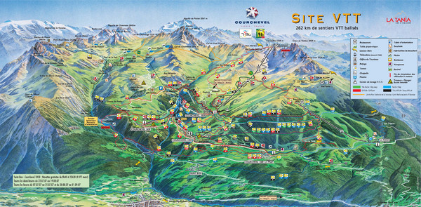 Courcheval Mountain Biking Map Courcheval France mappery
