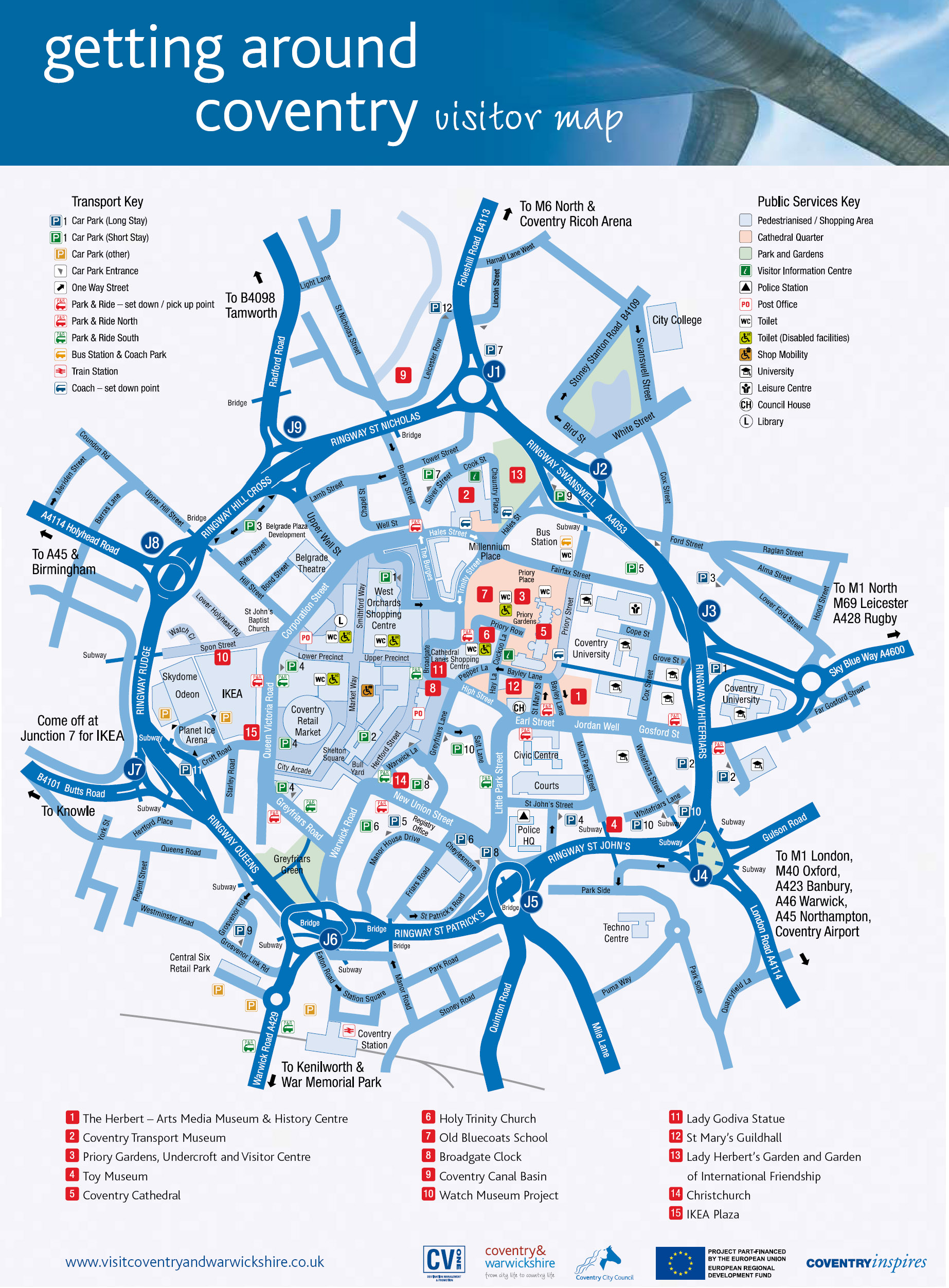 Coventry Tourist Map Coventry England UK mappery