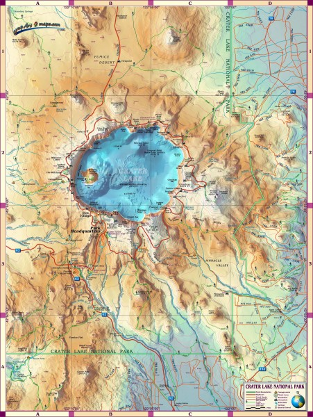 Crater Lake Topographic Map.Crater Lake National Park Map Crater Lake National Park Or Mappery