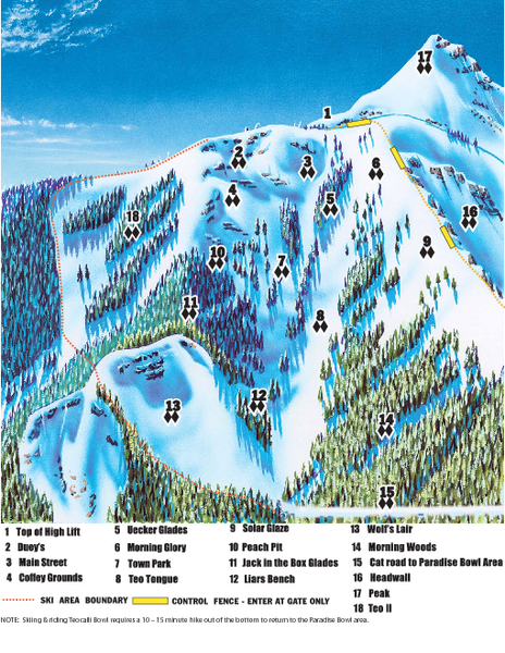 Crested Butte Mountain Resort Teocalli Bowl Ski Trail Map