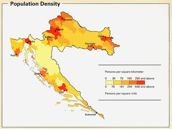 Croatia Population Density Map