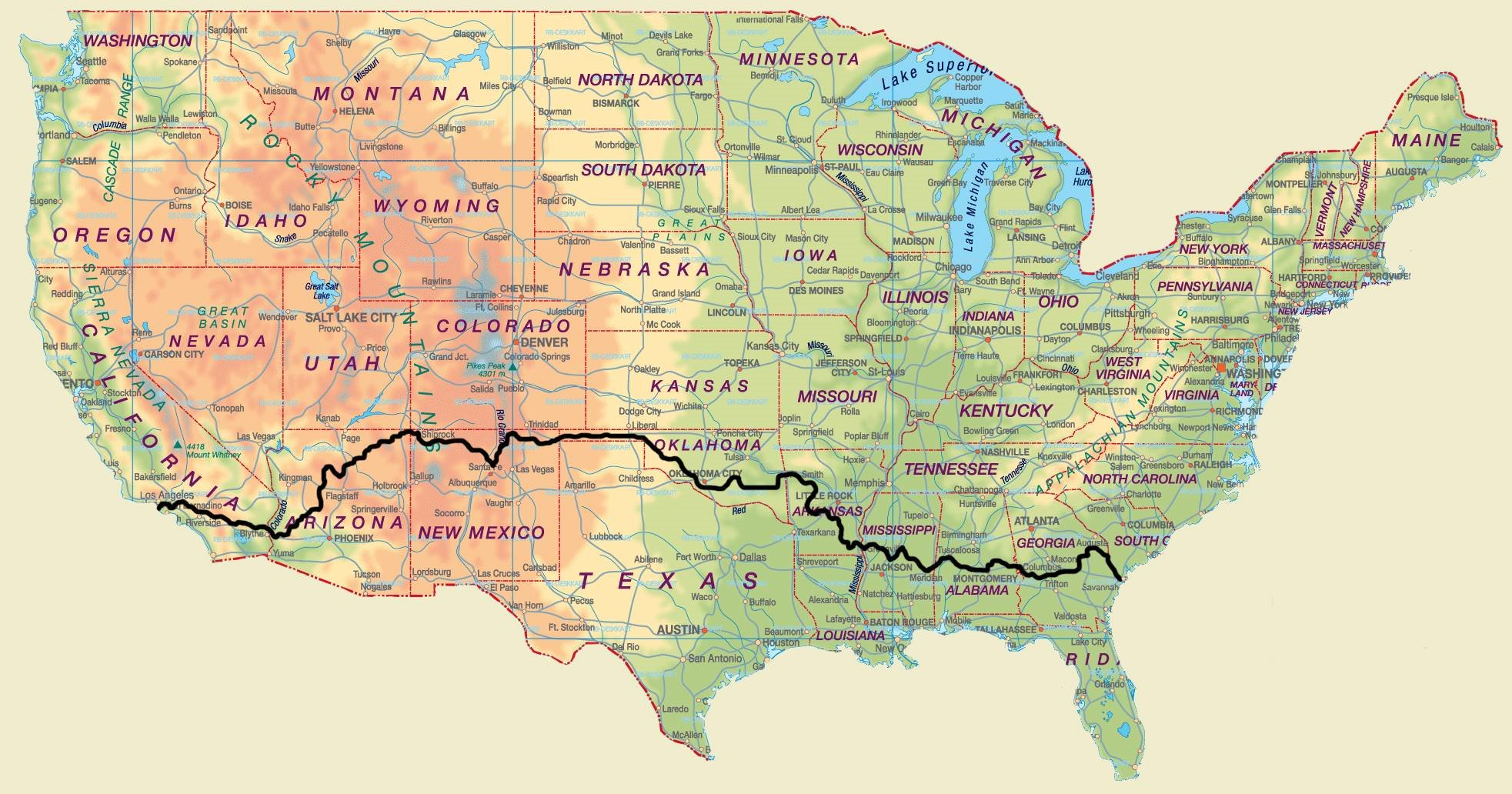 Cross Country Bike Route Map - United States • mappery on snake range map usa, snake river on map with key, snake america map, snake habitat map florida,