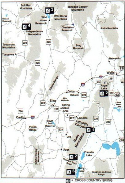 Fullsize Cross-country Skiing, Elko County, Nevada Map