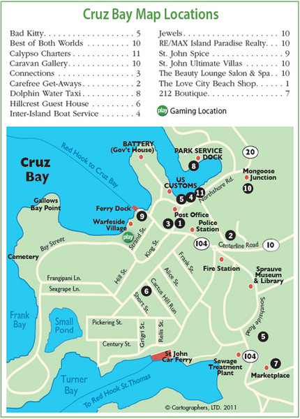 cruz bay st john map